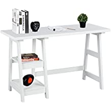 Writing Computer Desk Laptop Table White Trestle Home Office Desk Study Reading Desk Workstation with 2 Open Tiers Shelves