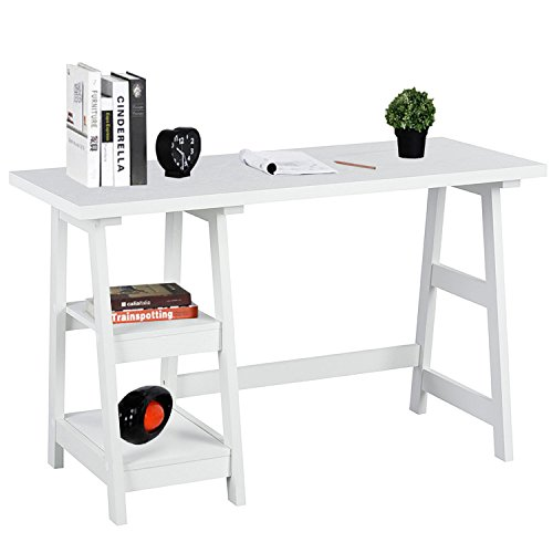 Laptop Table Computer Desk Trestle Writing Table White Wood Home Office Desk Hutch Credenza Workstation Studying Reading Desk with 2 Open Tiers Shelves