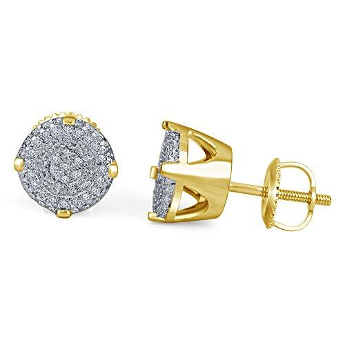 14K Or platded en argent sterling 925Lilu véritable diamant Boucles d'oreilles Fashion pour femme