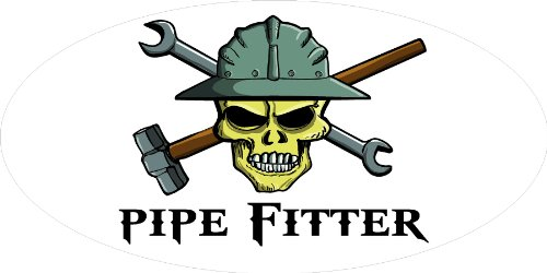 "Hard Pipe - 3 – Pipe Fitter Skull Hard Hat/Helmet Stickers 1 1/2"" x 3"" H317"