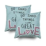 GROOTEY Decorative Cotton Square Set of 2 Pillow Case Covers Zippered Closing Home Sofa Decor Size 20X20Inch Costom Pillowcse Throw Cover Cushion,Do small things great love word pink