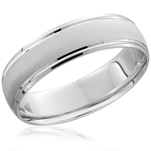 Mens 950 Platinum 6mm Brushed Wedding Band Ring - Size 10.5