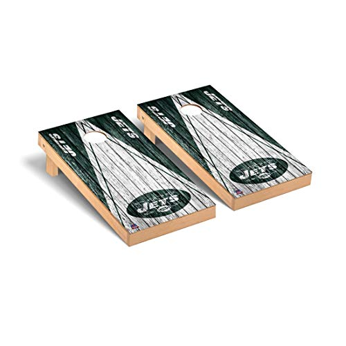 Victory Tailgate New York Jets NFL Football Regulation Cornhole Game Set Triangle Weathered Version (Ny Jets Games)