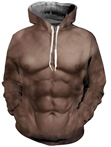 (TUONROAD Youth & Adult Unisex Fit Hoodies Sweaters Brown Strong Powerful Fake Muscle Comfortable Sportswear Pullover Realistic Hooded Shirt with Adjustable Drawstring Kangaroo Pocket)