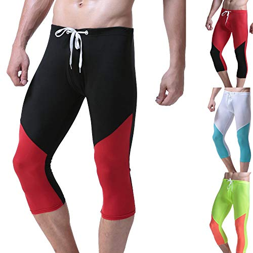 Mens 3/4 Compression Tight Pants Summer Running Swiming Surfing Boardshorts Pants Zulmuliu