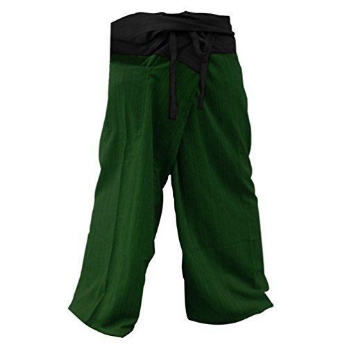2 Tone Thai Fisherman Pants Yoga Trousers Free Size Cotton Black and Green by NISAKORN