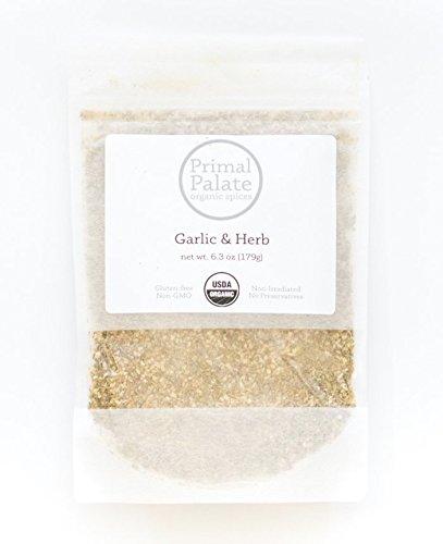 Primal Palate Organic Spices, Garlic & Herb Seasoning, Certified Organic, 6.3 oz resealable bag