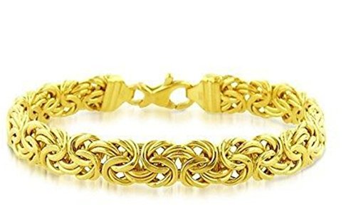14K Yellow Gold Shiny Byzantine Fancy (14k Byzantine Bracelet)