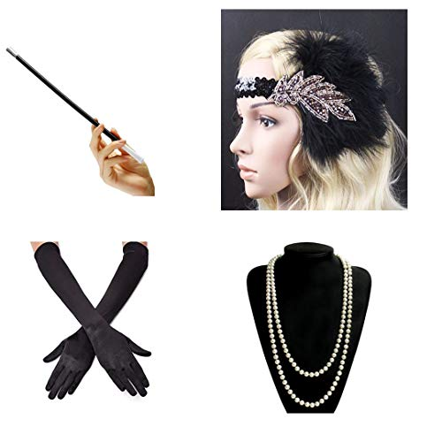 Dia Fancy Necklace - Great Gatsby Party Costume Accessories Set Fancy Flapper Girl Feather Headband Pearl Necklace Glove Cigarette Holder 4 Pcs B