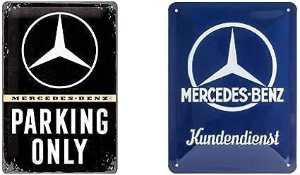 Nostalgic-Art Cartel De Chapa Retro Mercedes-Benz – Parking Only – Idea De Regalo Para Los Fans De Los Coches + Cartel De Chapa Retro Mercedes-Benz – Kundendienst