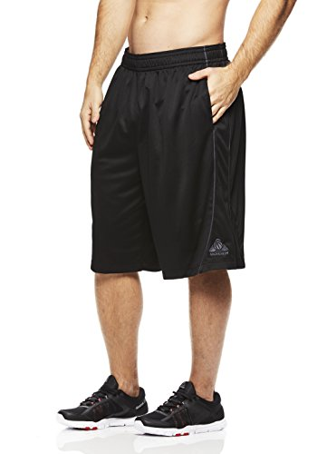 Style Mens Basketball Shorts (Above The Rim Men's Basketball Short Performance Mesh Athletic Workout Gym Shorts - 3 Point Range - Black, X-Large)