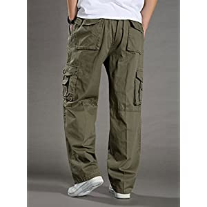 YangguTown YGT Men's Elastic Waist Cleaning Cargo Pants Lightweight Cotton Workwear-back