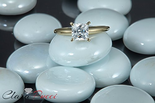 1.0 CT Princess brilliant Cut Simulated Diamond CZ Solitaire Bridal Promise Engagement Wedding Ring 14k Yellow Gold by Clara Pucci (Image #5)