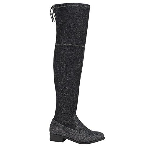 BESTON FD97 Damen Stretchy Overknee Block Ferse Kleid Stiefel halbe Größe klein Schwarzer Glitter