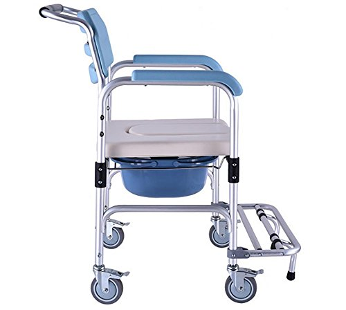 G&M Shower Chair With Wheels Commode Chair and Padded Toi...