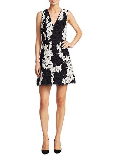 - Alice & Olivia Pamela Floral Sleeveless Mini A-Line Cocktail Dress Black/Cream