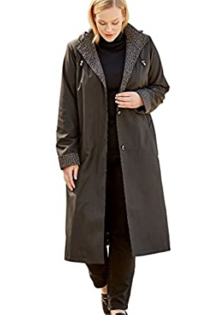 Jessica London Women's Plus Size Long Hooded Raincoat at