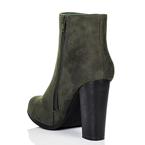 SPYLOVEBUY THORA Mujer Tacón Bloque Botes Bajas Zapatos Verde - Gamuza Sintética
