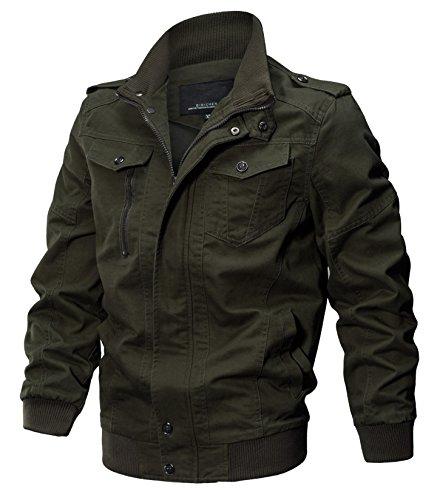 WULFUL Men's Cotton Military Jackets Casual Outdoor Coat Windbreaker Jacket Amy Green L