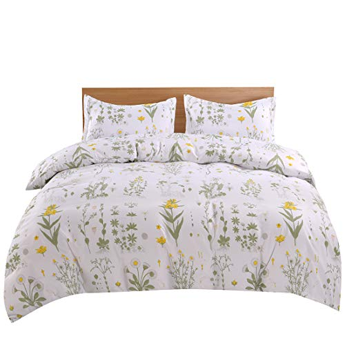 (Lightweight Microfiber Bedding Duvet Cover Set, Floral Print Pattern (Yellow Flower, Twin))