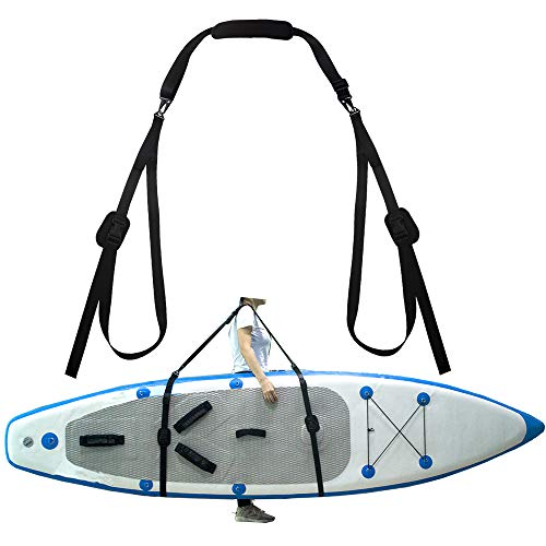 (ZipSeven SUP Shoulder Carrier Strap Soft Kayak Storage Sling Adjustable Length with Metal Accessories for Canoe Paddle Board Carrying)