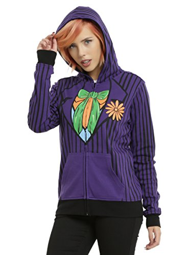 Hot Harley Quinn Costumes (DC Comics Joker & Harley Quinn Reversible Girls Costume Hoodie (Medium))