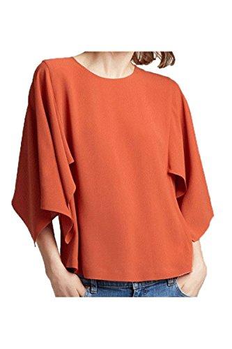 Eileen Fisher Silk Georgette Crepe Cape-Sleeve Top