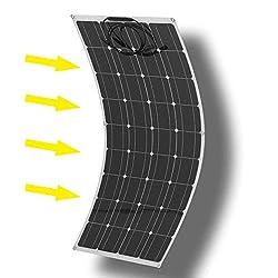 Holarose 160W Monocrystalline Flexible Solar Panel, Waterproof Flexible Monocrystalline Lightweight Solar Power System for RV, Boats, Roofs, Cabin, Tent, Car, Trailer, Ultra Thin (160W)