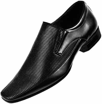 f19088aa7c5 Amali Classic Mens Glossy Black Horizontal Striped Loafer Slip on Formal Dress  Shoe  Style Yuma