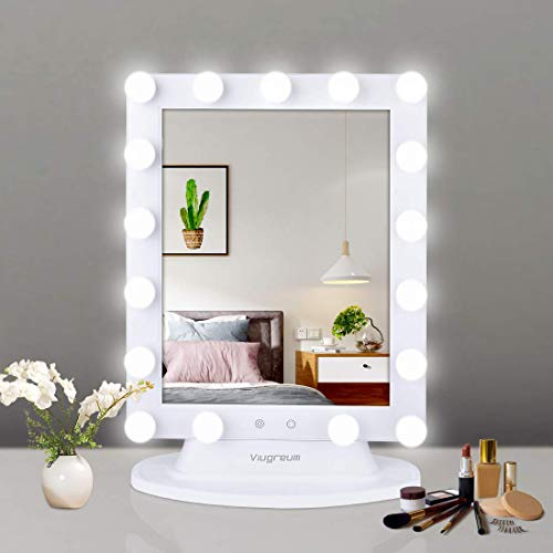 Replace Vanity Light - Viugreum Hollywood Vanity Mirror with Lights, Dimmable Lighted Makeup Mirror, Cosmetic Vanity Mirror Sets with Smart Touch Control Dimmer, Included 10X Magnifying Mirror and 2 PCS Replace Lamp Shades