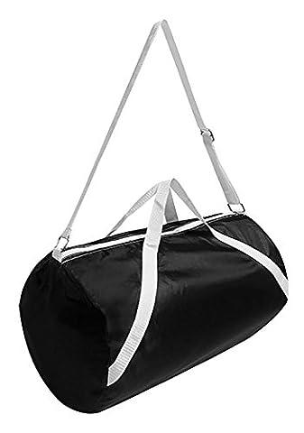 Solid Black and White Nylon Gym Bag - Black Label Duffel