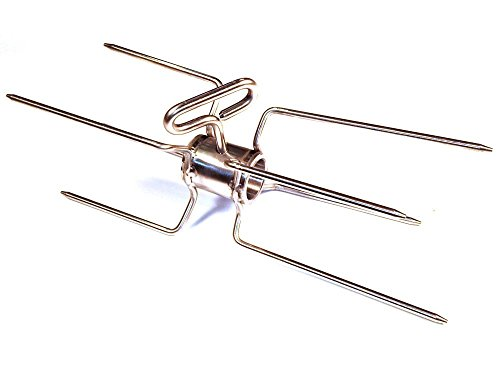 SpitJack Double Rotisserie Spit Fork Stainless for 1 Inch Spit Rod