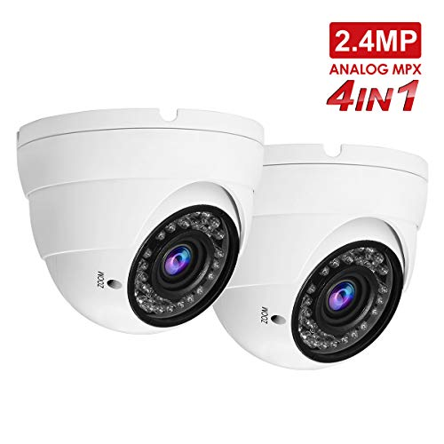 2.4MP Security Dome Camera(2pack), Anpvees HD 5X 1080P 5MP/4MP/2.4MP 4-in-1 TVI/CVI/AHD/CVBS Security Cameras, 2.8-12mm Manual Varifocal Lens Waterproof Outdoor Surveillance Camera-White For Sale