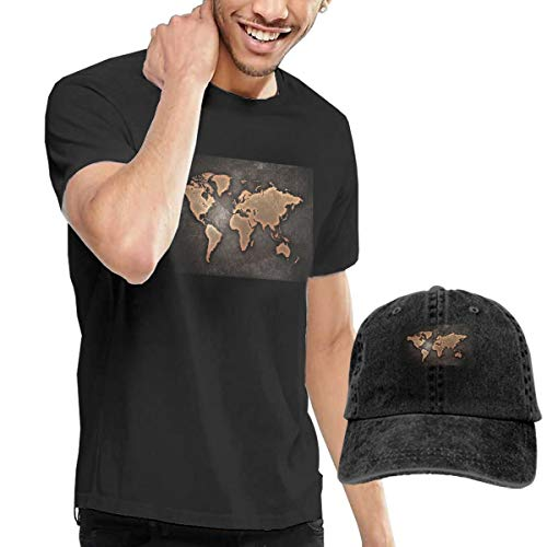 Men's Short Tee World Map Crew Neck T-Shirts and Baseball Cap Cotton Sleeve Shirts with Cowboy Peaked Hat
