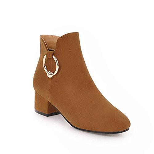 Sandalette-DEDE Cómodo en Invierno y otoño, con Botas y Botas de Mujer. brown