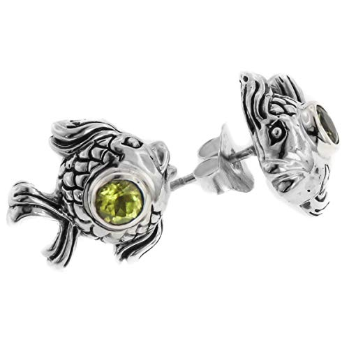 13/16'' Exquisite Goldfish Fish Design Peridot 925 Sterling Silver Post Earrings YE-985