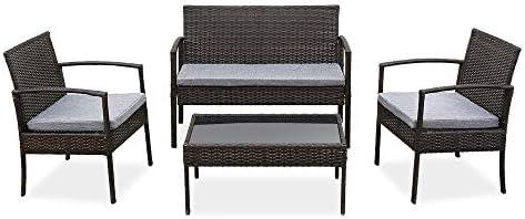4 PCS Outdoor Patio Rattan Wicker Furniture Set