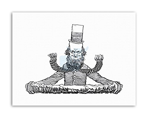 ACCORDIAN MAN TOP HAT HEATH ROBINSON Canvas art Prints