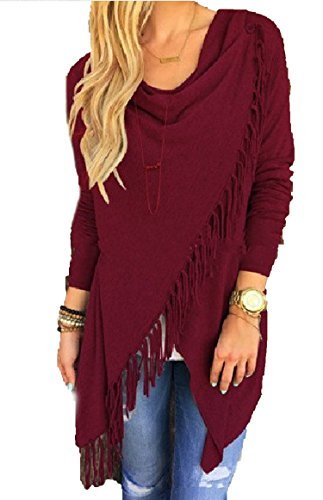 Prettyever Stylish Women's classicassel Slash Long Women's Blouse,Wine red,M