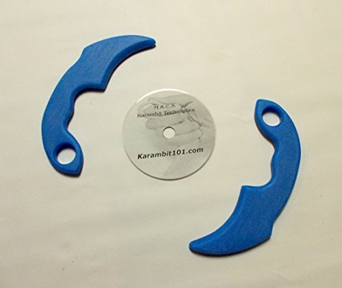 2-Ice-Blue-Kerambit-Trainer-Knives-Knife-Karambit-Training-DVD-Video-Pukulan-Serak