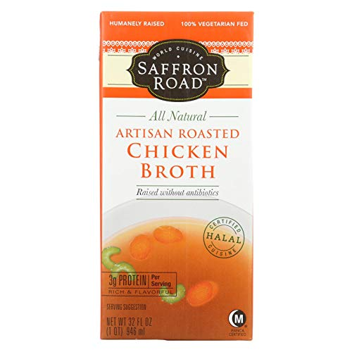 Saffron Road Artisan Roasted Chicken Broth, 32 Fluid Ounce - 12 per case.