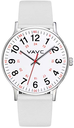 VAVC Scrub Medical Watch for Nurses, Doctors, Students with Second Hand 24 Hour. White Leather Watch
