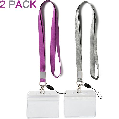 2 Pack ID Badge Holders with Purple Lanyards Office Neck Strings/Strap Grey Lanyard with Horizontal Heavy Duty id Holder PVC Name Tag Card Holder Punched Zipper Waterproof Resealable Clear -
