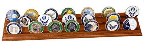 DECOMIL Military Challenge Coin Holder Stand (Walnut) (Wood, 3 Rows)
