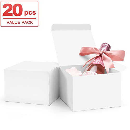 ValBox 20 Pack White Gift Boxes 5 x 5 x 3.5 Paper Gift Boxes with Lids for Gifts, Thanksgiving, Crafting, Cupcake, Cardboard Boxes, Easy Assemble Boxes
