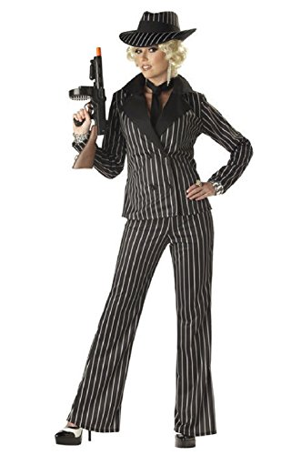 Zombie Mobster Costume (Gangster Lady Mobster Pinstripe Halloween Costume)