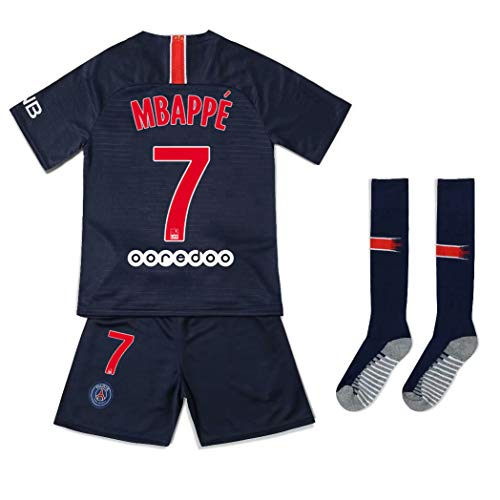 (Offshore fireworks 2018/2019 PSG Home #7 MBAPPE Football Kids/Youth Soccer Jersey Shorts Socks Set, Blue, 10-11years (138-144cm))