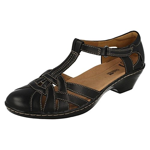 Clarks sandalias de tacón de la mujer Wendy loras Black Leather