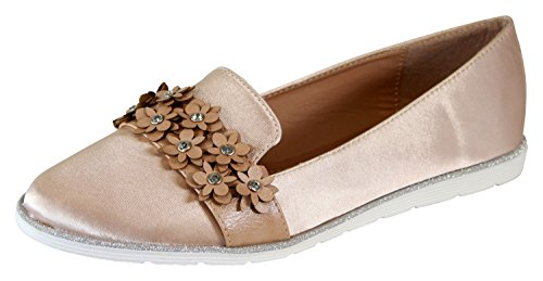 Comfy On Beige Casual New 4 Larena Shoes Ballerinas Fashion Flower 37 plimsolls Flat Womens Pumps Slip UK 1gx0Xwq