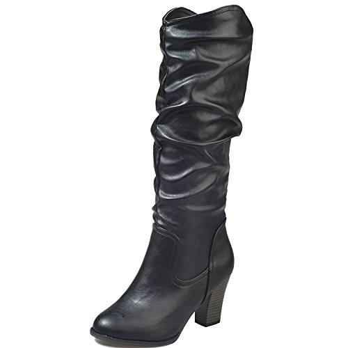 Black Block Heels Boots ODEMA Slouch Leather PU High Mid Women's Riding Calf Chunky qtxwRCO7